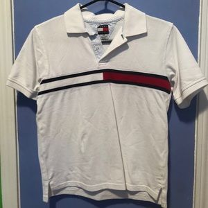 White Tommy Hilfiger Collared T Shirt